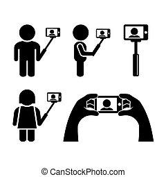ikonen, mobil, selfie, ringa, vektor, set.