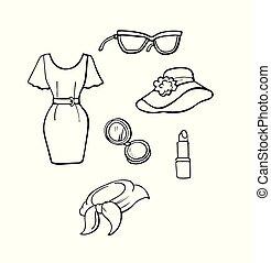 ikonen, mode, kollektion, hand, oavgjord