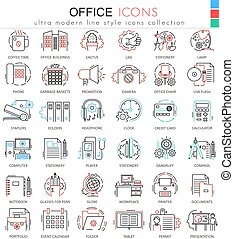 ikonen, nät, färg, elementara, apps, skissera, kontor, redskapen, icons., vektor, fodra, design.