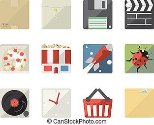 ikonen, nät, mobil, applikationer, lägenhet