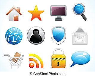 ikonen, nät, sätta, abstrakt