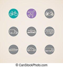 ikonen, olik, transport, metoden, lägenhet