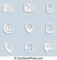 ikonen, papper, oss, kontakta