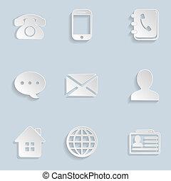 ikonen, papper, sätta, kontakta