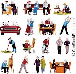 ikonen, sätta, äldre folk