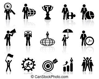 ikonen, sätta, affärsverksamhet liknelse