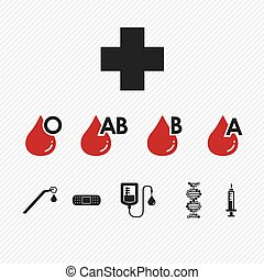ikonen, sätta, blodgrupp, donation