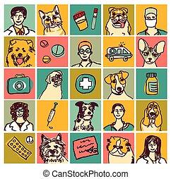 ikonen, sätta, doktorn, älsklingsdjur, objekt, veterinär