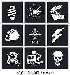 ikonen, sätta, elektrisk, företag