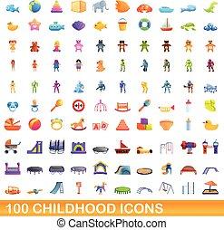ikonen, sätta, stil, 100, barndom, tecknad film