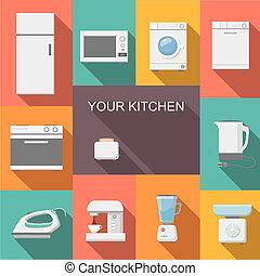 ikonen, sätta, tillämpligheter, kök, lägenhet
