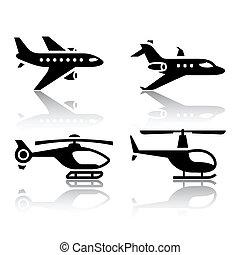 ikonen, sätta, transport