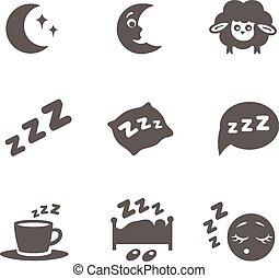 ikonen, sömn, isolerat, sätta, vektor