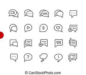 //, ikonen, serie, peka, bubbla, röd
