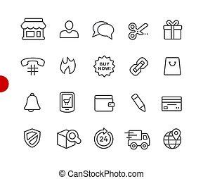 //, ikonen, serie, peka, e-shopping, röd
