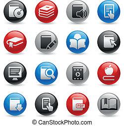 ikonen, --, serie, proffs, bok, gel