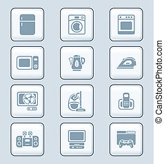 ikonen, serie, tech, elektronik hemma, |