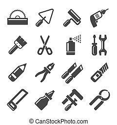 ikonen, set., hand, vektor, diy, redskapen