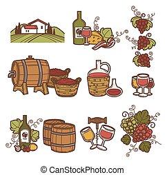 ikonen, set., produktion, vinodling, eller, winemaking, vin