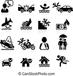 ikonen, set., vektor, illustration., försäkring