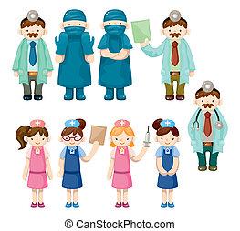 ikonen, tecknad film, läkare, sköta