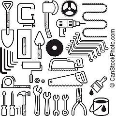 ikonen, verktyg, konstruktion, set., arkitektur