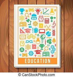 ikonen, vetenskap, concept., e-lära, vektor, utbildning