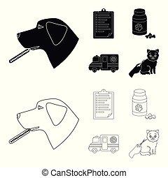 ikonen, veterinär, stil, klinik, block, symbol, svart, web., illustration, skissera, sätta, sjukhus, kollektion, vektor, termometer, .vet, hund