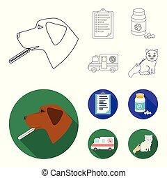 ikonen, veterinär, stil, klinik, block, symbol, web., illustration, sätta, sjukhus, kollektion, vektor, termometer, .vet, hund, skissera, lägenhet