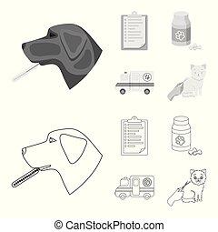 ikonen, veterinär, stil, klinik, block, symbol, web., illustration, sätta, sjukhus, kollektion, vektor, termometer, .vet, hund, monokrom, skissera