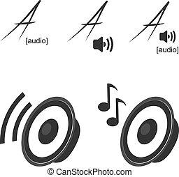 ikonen, volym, -, symboler, vektor, högtalare, musik