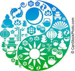 ikonen, yang, symbol, zen, yin, gjord