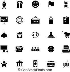 ikoner branche, oppe, start, baggrund, hvid