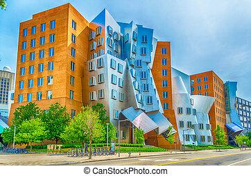 ikonický, postmodern, architektura, o, s, vrstvy, centrum,...