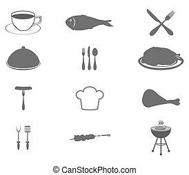 ikonok, állhatatos, élelmiszer