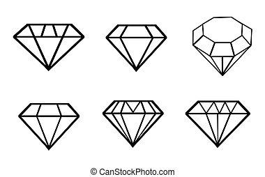 ikonok, állhatatos, gyémánt, vektor