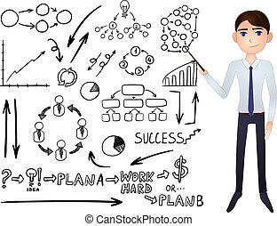 ikonok, állhatatos, szórakozottan firkálgat, üzletember, charts., vektor, grafika, budsiness, karikatúra