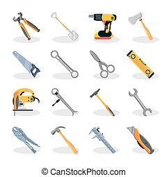 ikonok, állhatatos, szerkesztés, eszközök