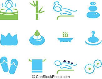 ikonok, ásványvízforrás, wellness, elszigetelt, állhatatos, masszázs, fehér