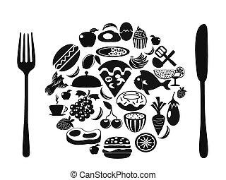 ikonok, élelmiszer, jelkép