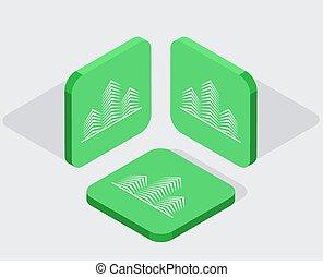 ikonok, app, 3, modern, isometric, vektor