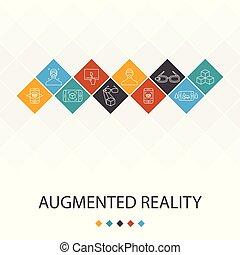ikonok, augmented, infographics, tényleges, arcápolás,...
