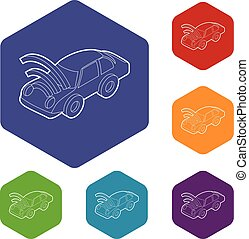 ikonok, autó, hexahedron, wifi, aláír, vektor