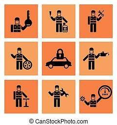 ikonok, autószerelő, szolgáltatás, rendbehozás, autó