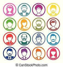 ikonok, avatar, női, arc, karika, hím