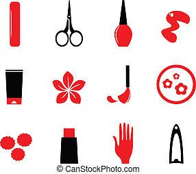 ikonok, bla, szépség, kozmetikum, (, izolál, fehér, körömápolás, piros