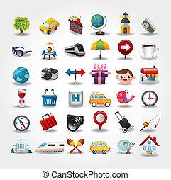 ikonok, collection., utazás, ábra, vektor, jelkép