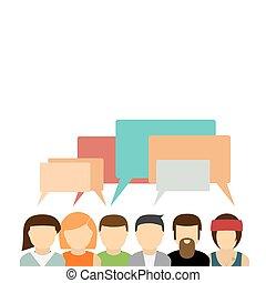 ikonok, csoport emberek, noha, beszéd, bubbles.