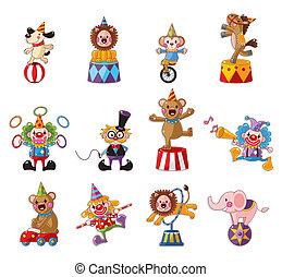 ikonok, előadás, boldog, cirkusz, gyűjtés, karikatúra