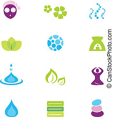 ikonok, elszigetelt, vektor, ásványvízforrás, természet, wellness, fehér